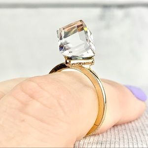 Jewelry - Swarovski Crystal Cube Ring 6.25 Clear Iridescent